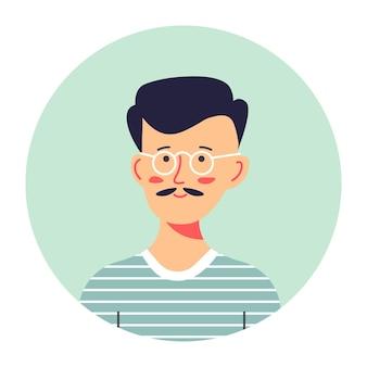 Porträt des modischen männlichen charakters, isoliertes kreisfoto des teenagers mit brille. hipster mit schnurrbart, freundliche persönlichkeit in stilvoller kleidung. modell oder student des universitätsvektors in der wohnung
