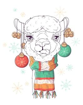 Porträt des niedlichen alpakas im weihnachtszubehör