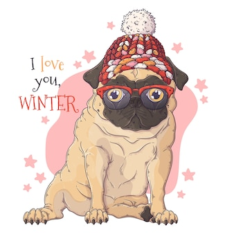 Porträt des niedlichen mops-hundes im weihnachtszubehör