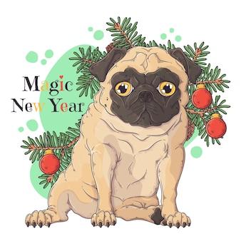Porträt des niedlichen mops-hundes mit weihnachtsbaum