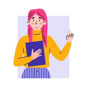 Porträt des positiven glücklichen mädchens, das des sieges gestikuliert, unterzeichnen eine vektorillustration