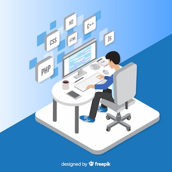 Porträt des programmierers arbeitend mit pc