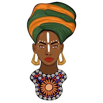 Porträt einer afrikanischen prinzessin lokalisiert auf einem weißen hintergrund. grafik
