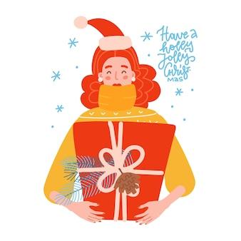 Porträt einer glücklichen frau umarmt eine große geschenkbox mit einer großen bogenweihnachtsgeschenkkonzeptvektorflach...
