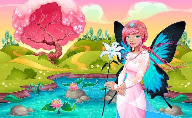 Porträt einer jungen fee in einer fantasy-landschaft vector illustration