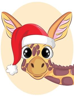 Porträt einer niedlichen giraffe. weihnachtsillustration.