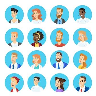 Porträt eines anderen zeichensatzes. sammlung von gesichts-avatar mit verschiedenen frisuren. mann und frau kopf. illustration