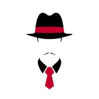 Porträt eines italienischen mannes mit schwarzem vintage-hut und roter krawatte