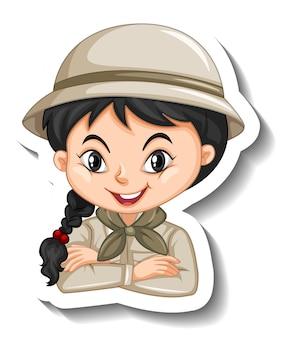 Porträt eines mädchens im safari-outfit-cartoon-charakter-aufkleber