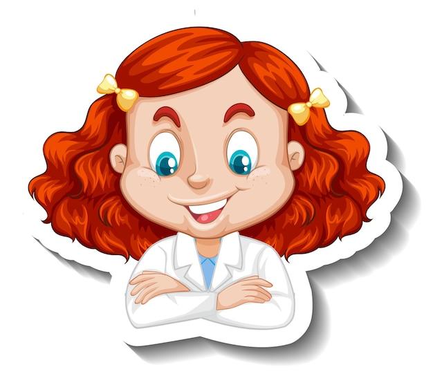 Porträt eines mädchens im wissenschaftskleid-cartoon-charakter-aufkleber