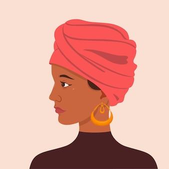 Porträt eines mädchens in einem turban.