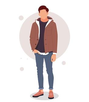 Porträt eines mannes, der in stilvollen outfits posiert