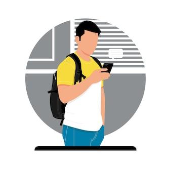 Porträt eines mannes, der smartphoneillustration hält