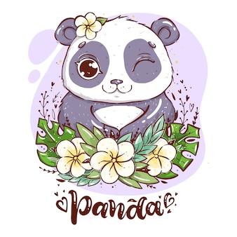 Porträt eines netten pandas mit tropischen blättern und blumen, panda mit einer blume nahe dem ohr mit handbeschriftungswort panda