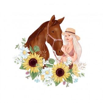 Porträt eines pferdes und eines mädchens im digitalen aquarellstil und ein blumenstrauß von sonnenblumen und gänseblümchen