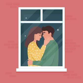 Porträt eines verliebten romantischen paares im fenster. junger mann und frau verliebt, vor dem kuss. zärtlichkeit und leidenschaft in einer beziehung. valentinstagfeier. illustration im flachen stil