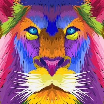 Porträt gesicht löwe pop art dekorativ.