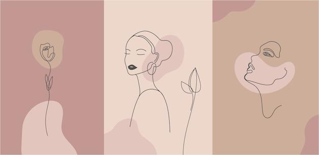Porträt im minimalistischen stil. linienblume, frauenporträt. hand gezeichneter abstrakter weiblicher druck.
