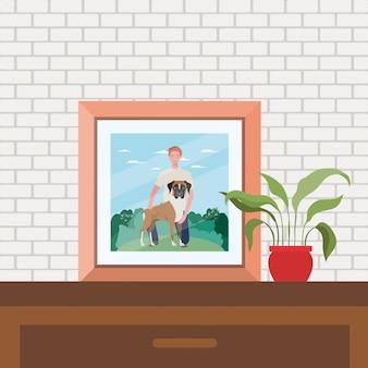 Porträt mit bild des mannes mit hundemaskottchenszene