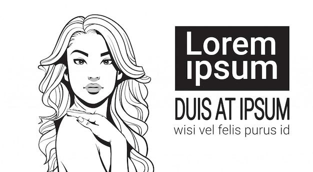 Porträt-skizzen-schönheits-attraktive frau mit dem langen haar über weißem hintergrund