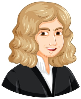 Porträt von isaac newton im cartoon-stil