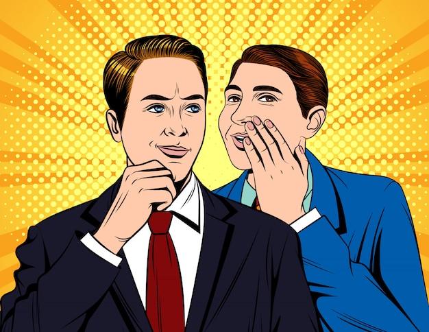 Porträt von zwei jungen gutaussehenden geschäftsleuten, die gespräch haben