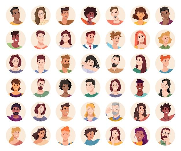 Porträts und avatare von männern und frauen