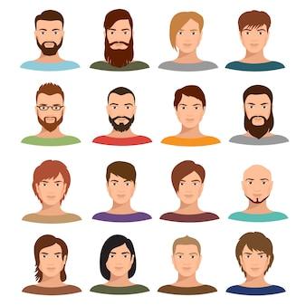 Porträts-vektorsammlung des erwachsenen mannes. internet-profil bemannt karikaturgesichter