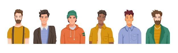 Porträts von männlichen persönlichkeiten, reihe von männern, die verschiedenen kulturen angehören