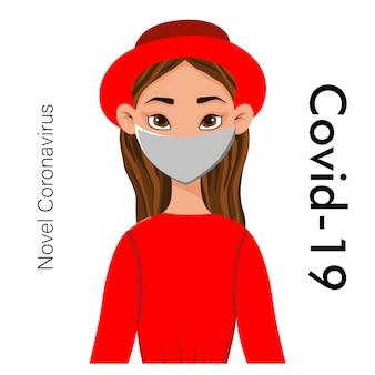 Porträts von maskierten frauen lokalisiert auf einem weißen hintergrund. coronavirus 2019-ncov-ausbruch. pandemie-epidemiologie-konzept. flache illustration