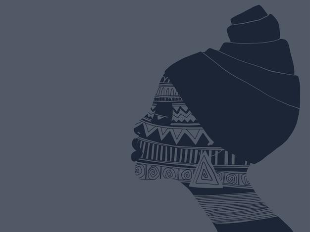 Portrait der afrikanischen frau mit verzierungen auf ihrem gesicht