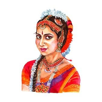Portrait der schönen indischen dame in der traditionellen frauenkleider- und -haaranordnung