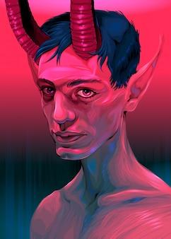 Portrait eines teufelsjungen