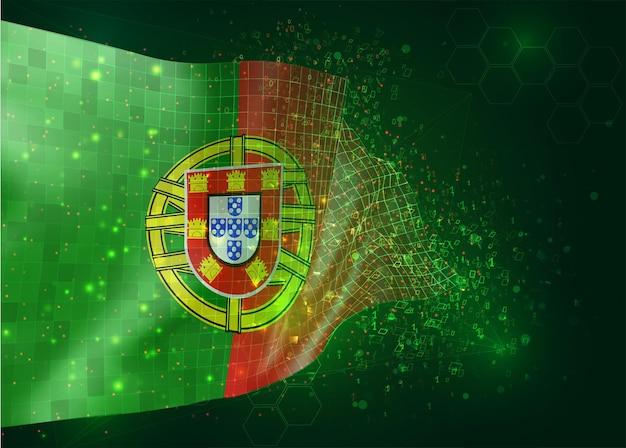 Portugal, auf vektor-3d-flagge auf grünem hintergrund mit polygonen und datennummern