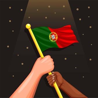 Portugal flagge auf der hand symbol für feier unabhängigkeitstag 1 desember konzept in cartoon illustra