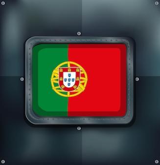 Portugal-flagge auf metallischem hintergrund