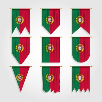 Portugal flagge in verschiedenen formen