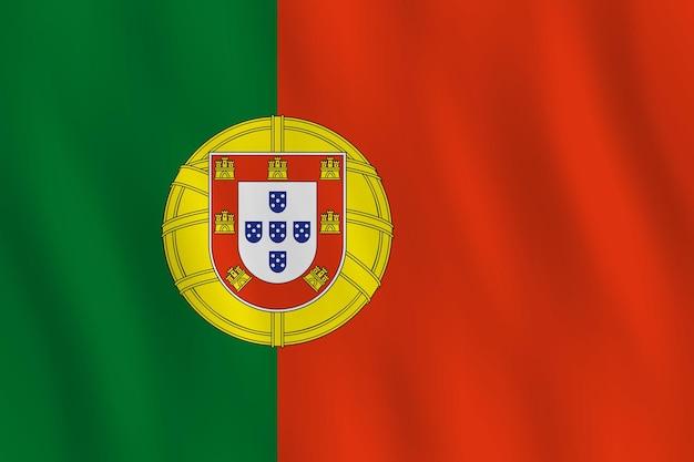 Portugal-flagge mit wehender wirkung, offizieller anteil.