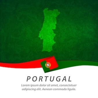 Portugal-flagge mit zentraler karte