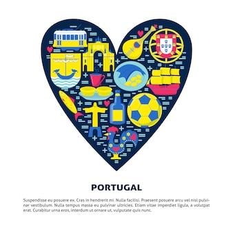 Portugal im flachen stil in einem herzen