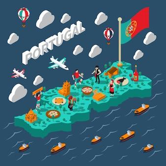 Portugal isometrische karte