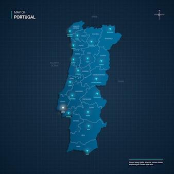 Portugal karte mit blauen neonlichtpunkten