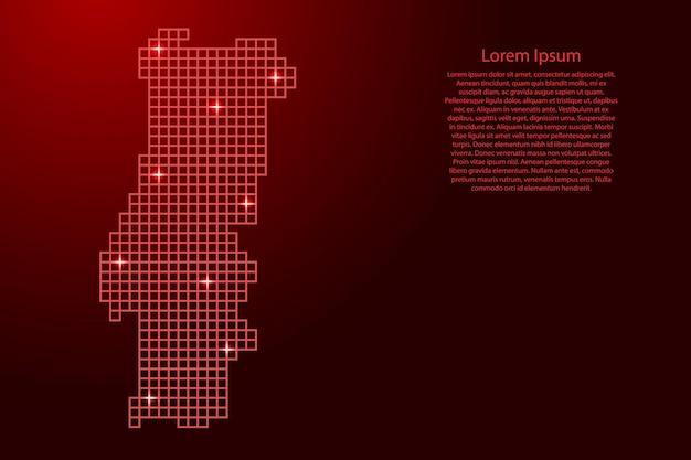 Portugal-kartensilhouette aus roten mosaikstrukturquadraten und leuchtenden sternen. vektor-illustration.