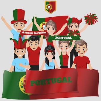 Portugal nationalmannschaft unterstützer Premium Vektoren