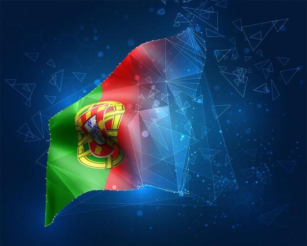 Portugal, vektorflagge, virtuelles abstraktes 3d-objekt aus dreieckigen polygonen auf blauem hintergrund
