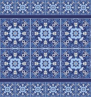 Portugiesische azulejo-fliesen. nahtlose muster.