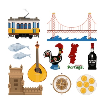 Portugiesisches icon-set. illustration des hahns und der reise nach lissabon, traditionelle burgwohnung