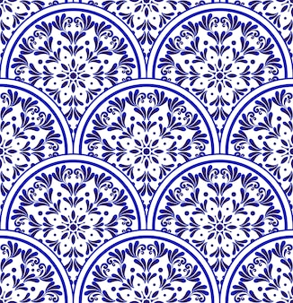 Porzellanmuster blau und weiß