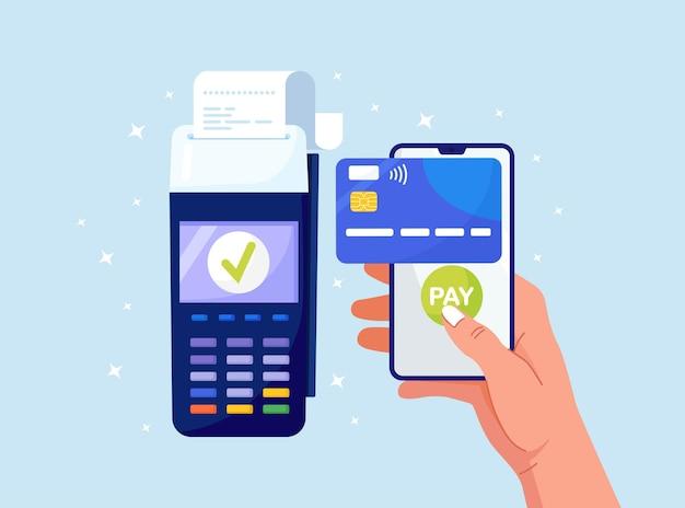 Pos-terminal für kontaktloses bezahlen mit dem smartphone. zahlungsautomat und mobiltelefon mit kreditkarte auf dem bildschirm. erfolgreiche nfc-zahlungstransaktion. online-banking, internet-geldüberweisungsdienst