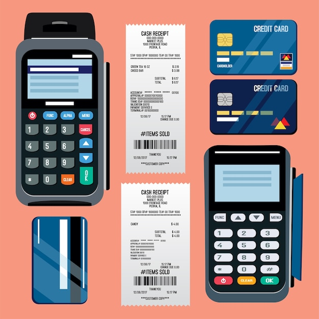 Pos-terminal mit kreditkarte und belegillustration
